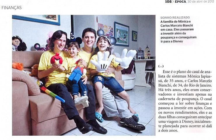 Foto e trecho da matéria da Revista Época com participação da Família Quadrada