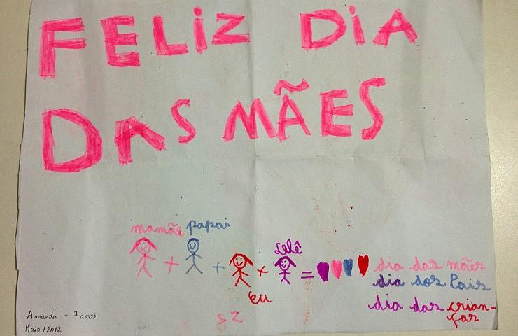 Desenho da Amanda (com 7 anos), em comemoração ao dia das mães