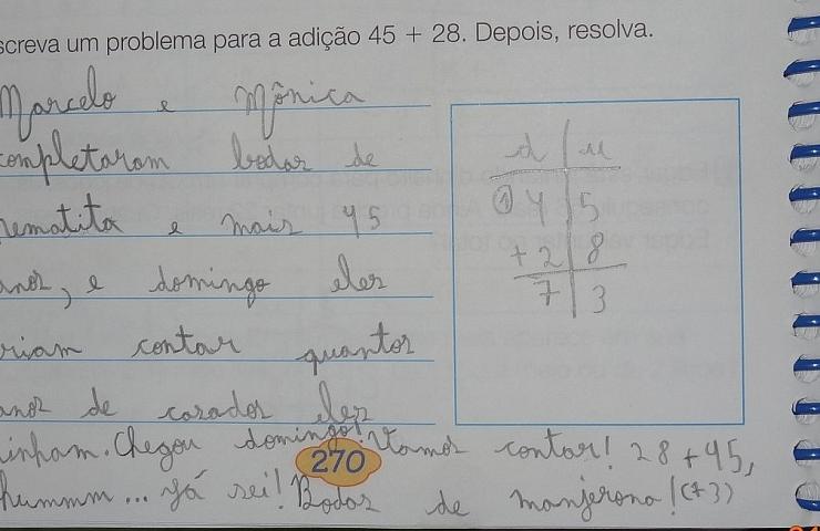 Problema de matemática elaborado pela Amanda