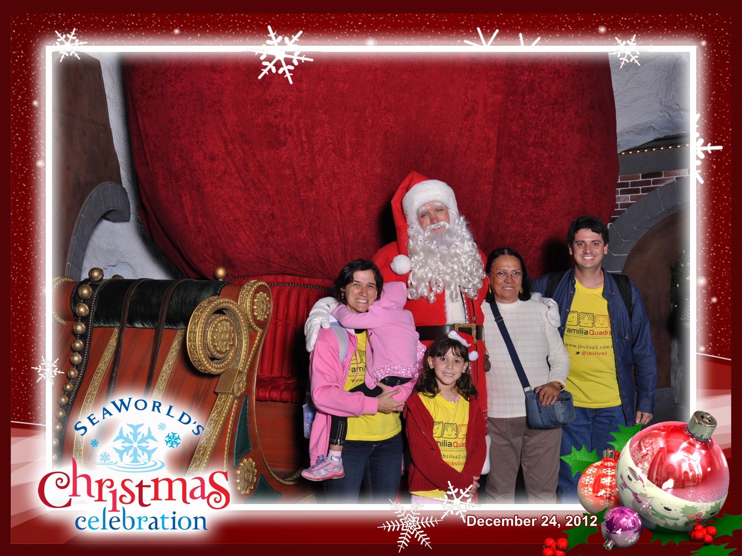 Família Quadrada com o Papai Noel no Sea World