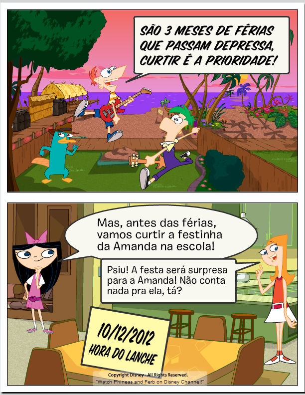 Convite do Phineas e Ferb que foi na agenda dos amigos