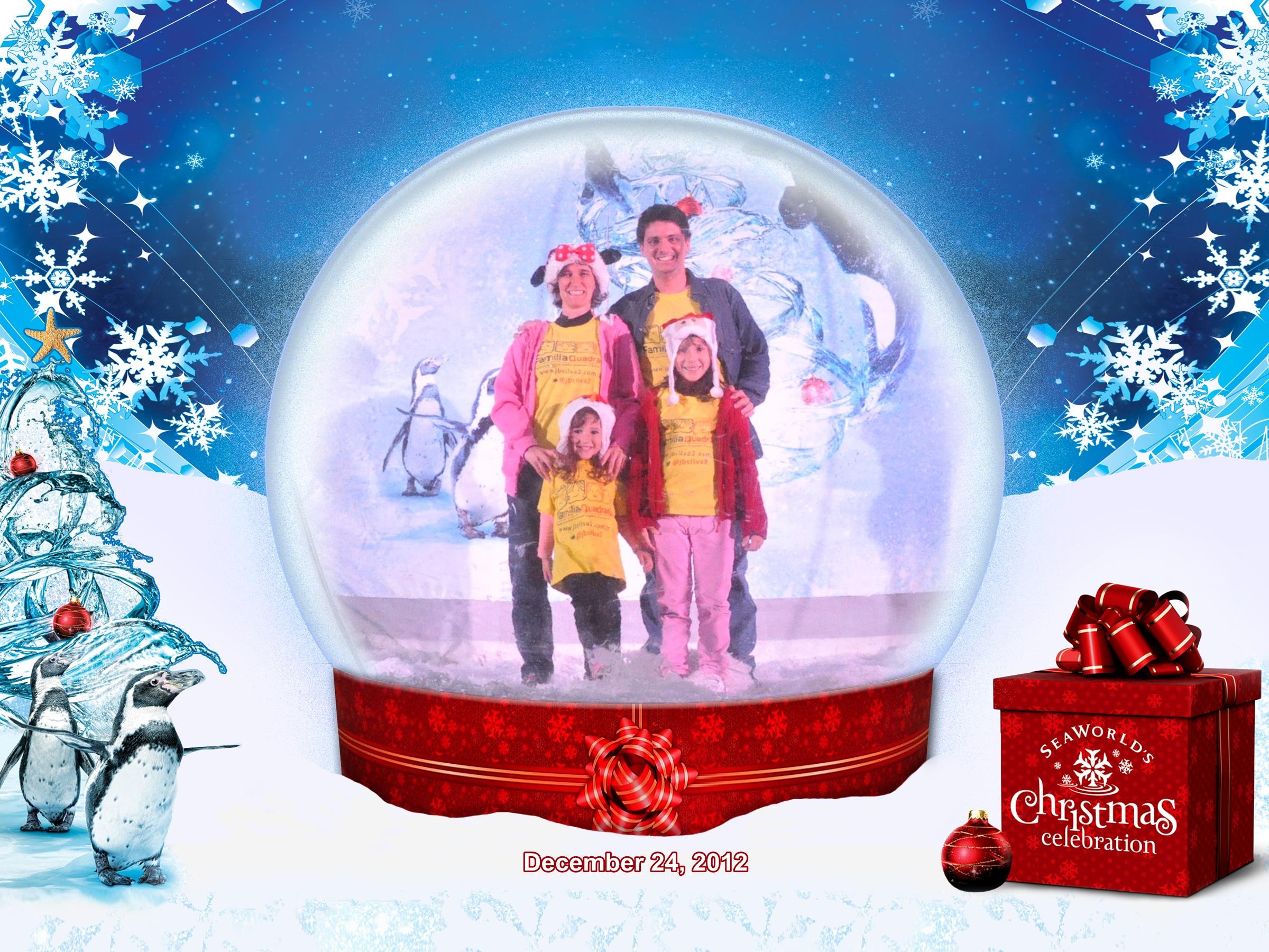 Sea World: Família Quadrada dentro da bolha de Natal