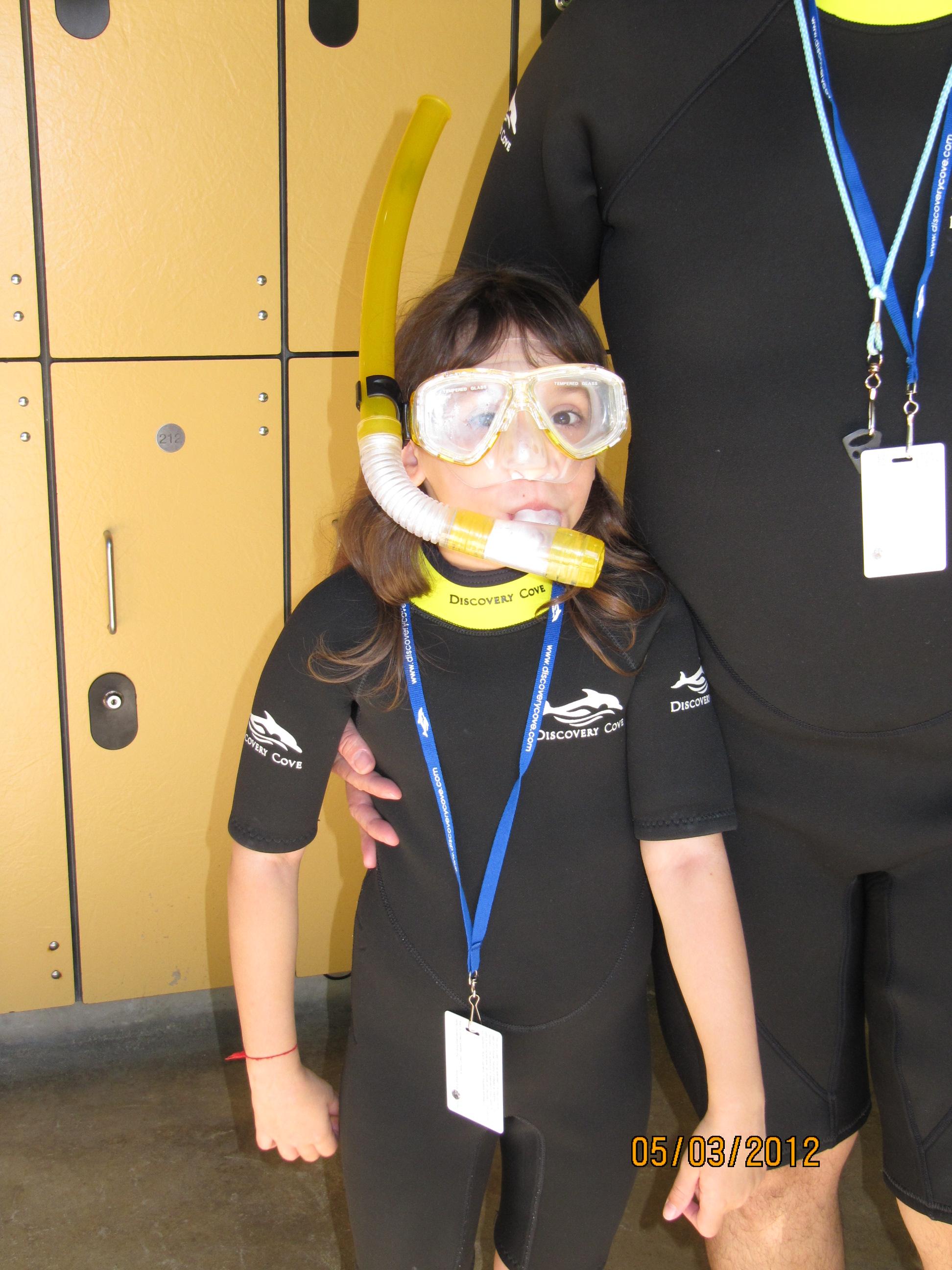 Amanda preparada para mergulhar