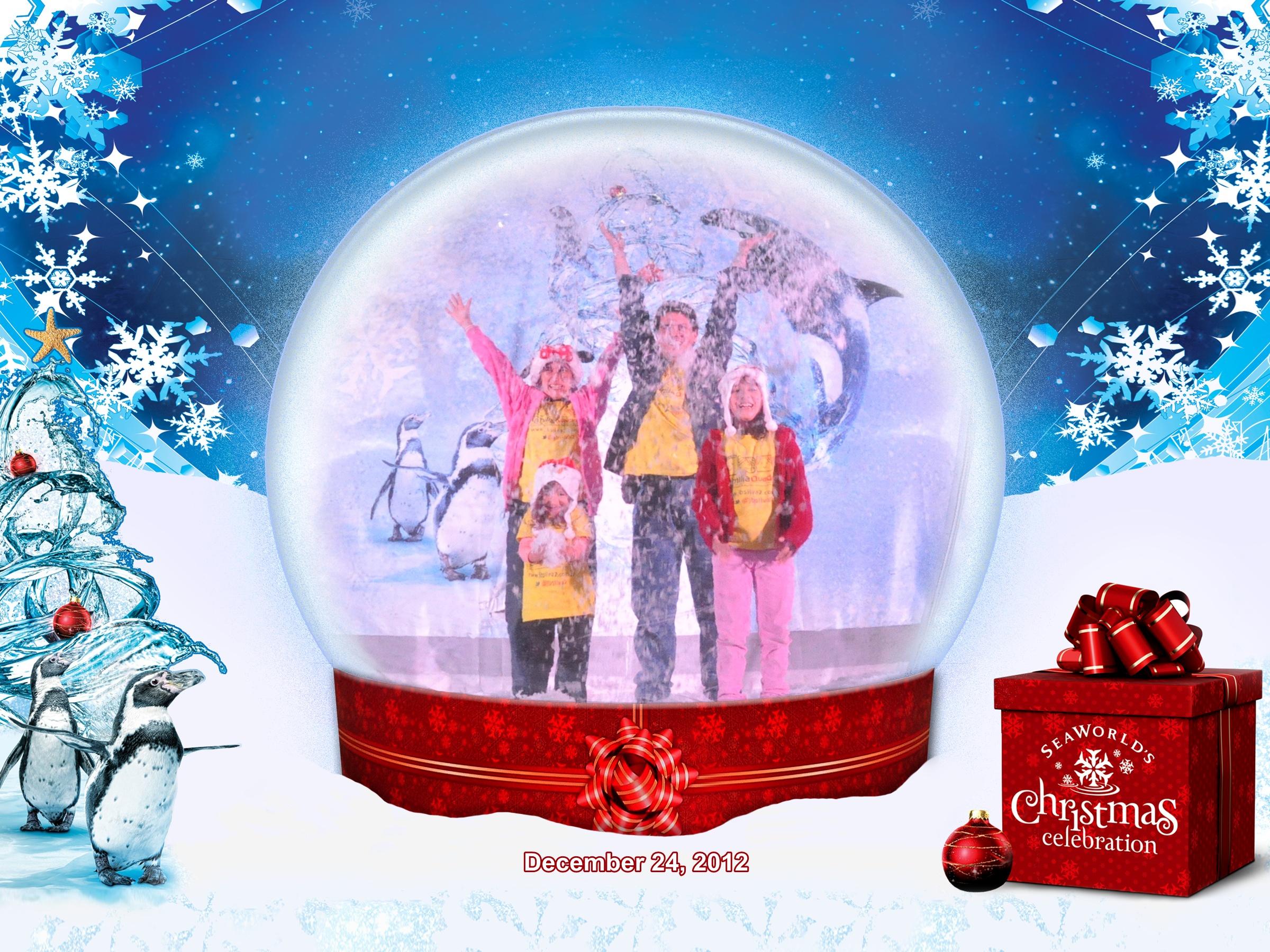 Família Quadrada dentro do globo de Natal