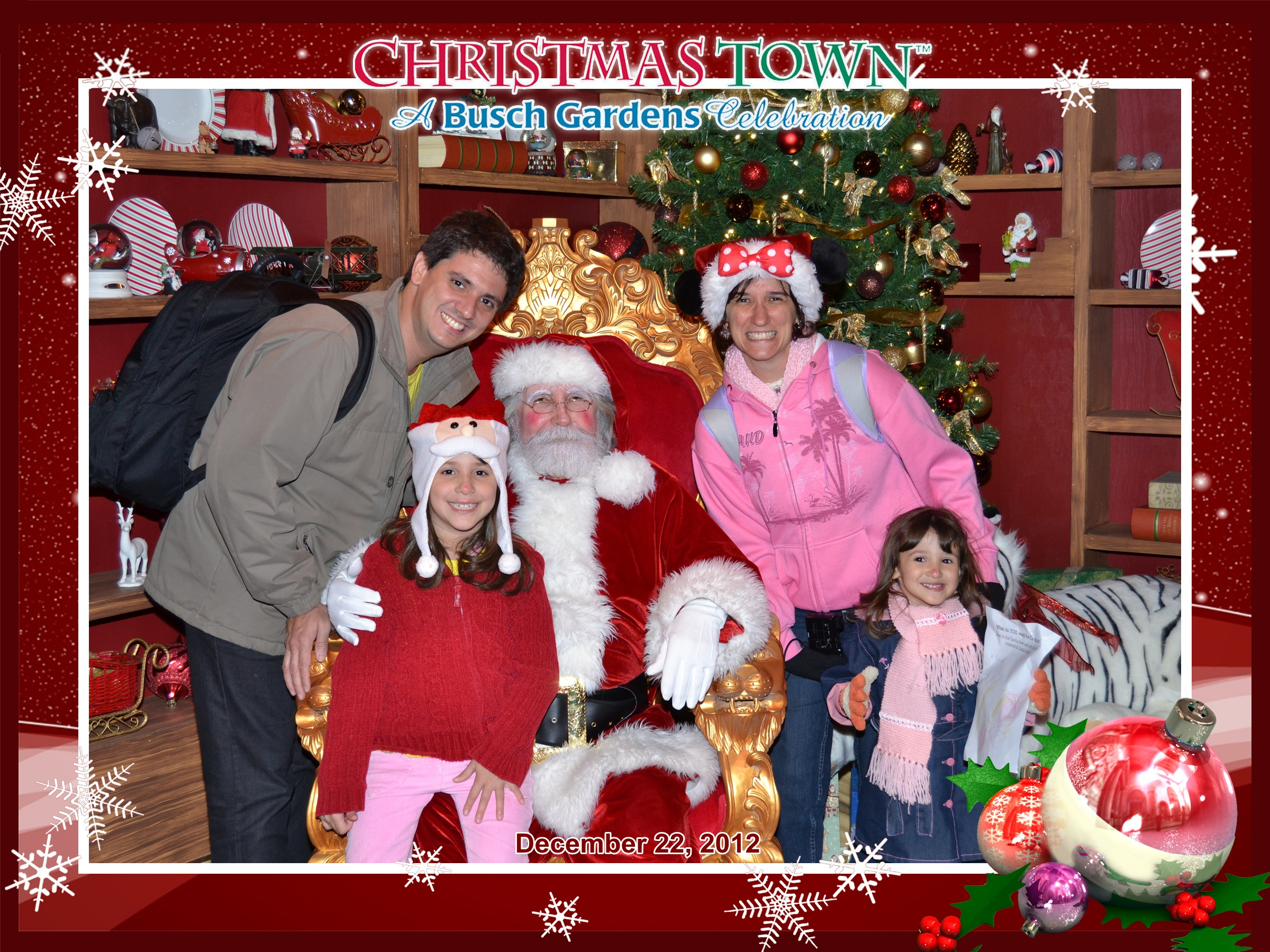 Família Quadrada com o Papai Noel no Busch Gardens