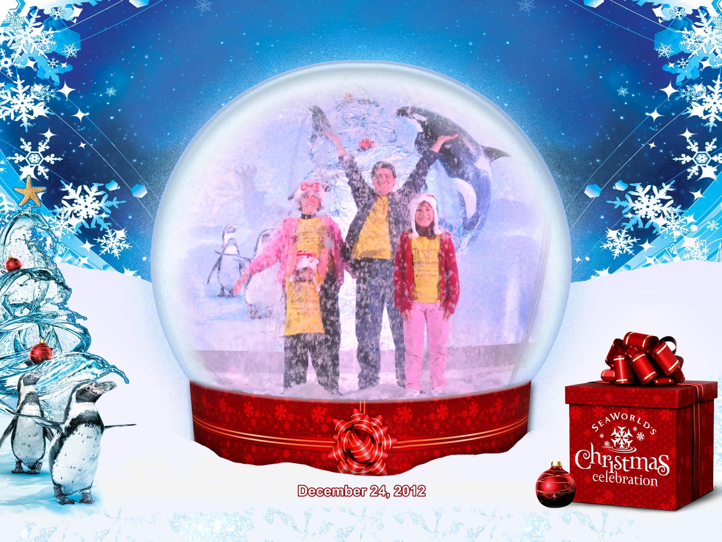 Sea World: Família Quadrada dentro da bolha de Natal, jogando neve para o alto!