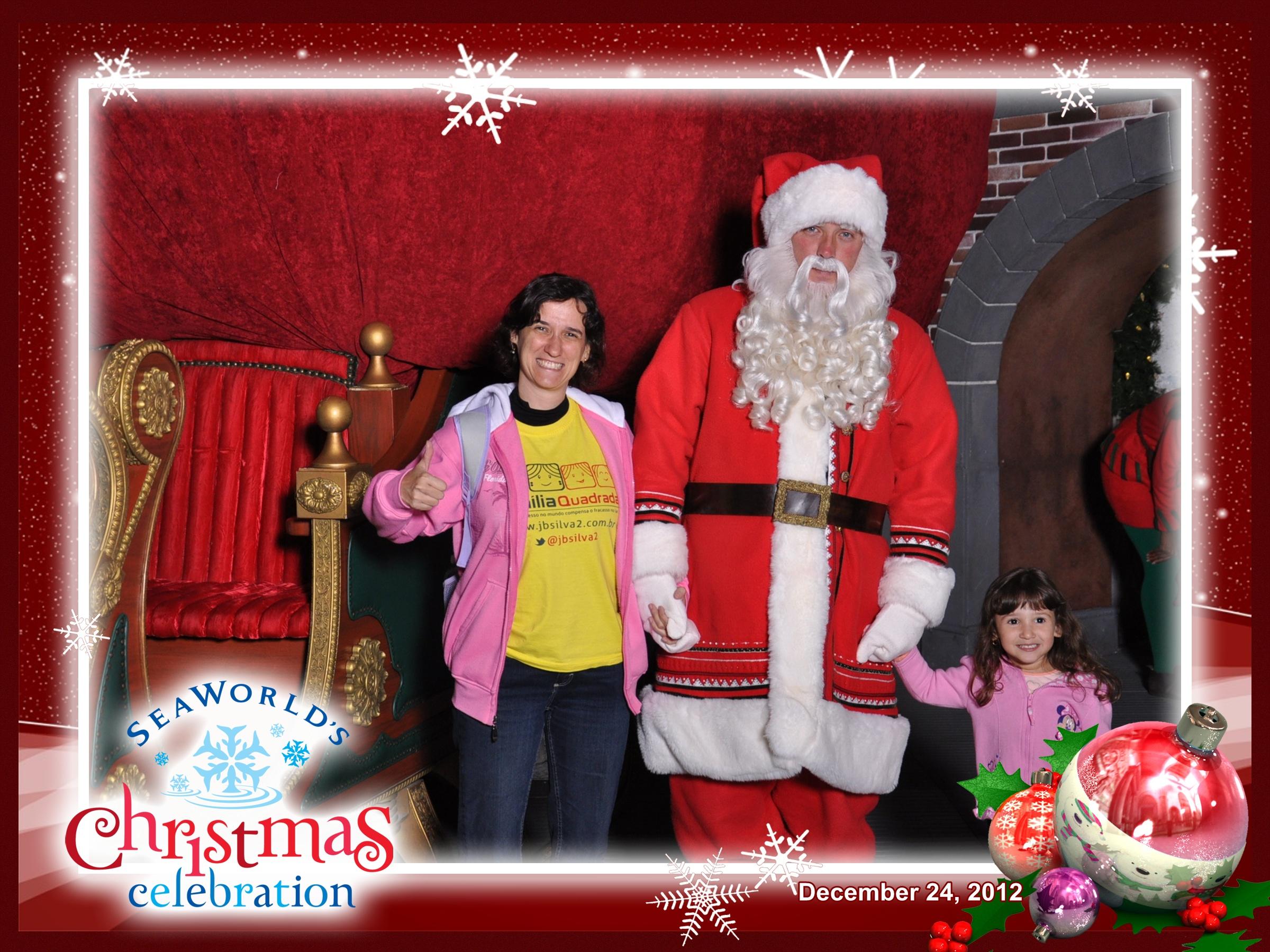 Sea World: Mônica e Letícia com o Papai Noel