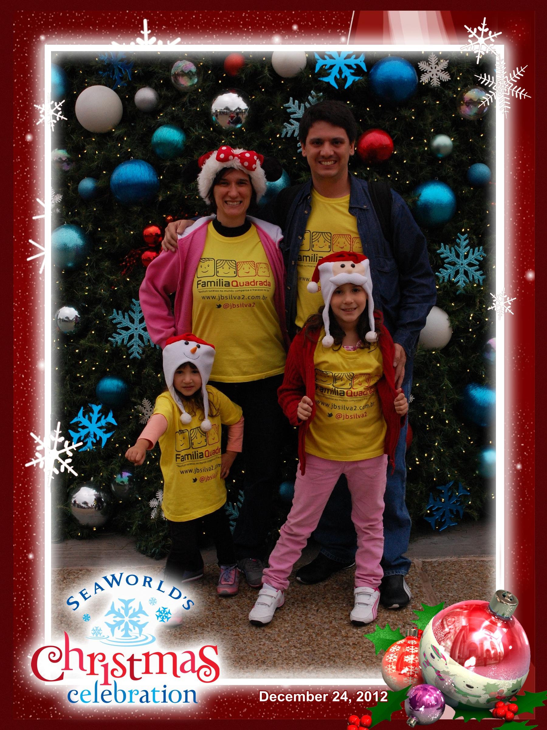 Sea World: Família Quadrada na árvore de Natal