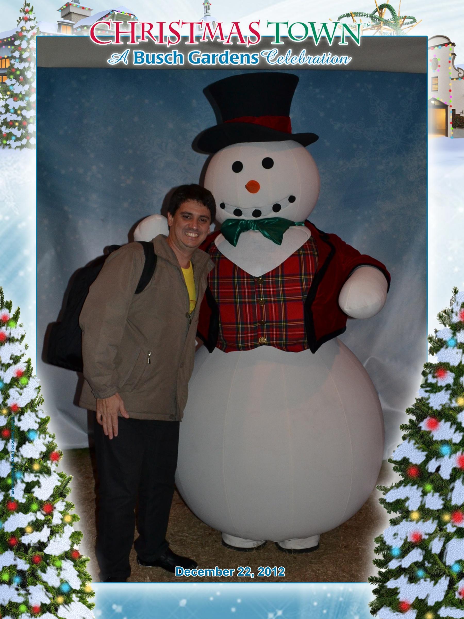 Busch Gardens: Marcelo com o boneco de neve