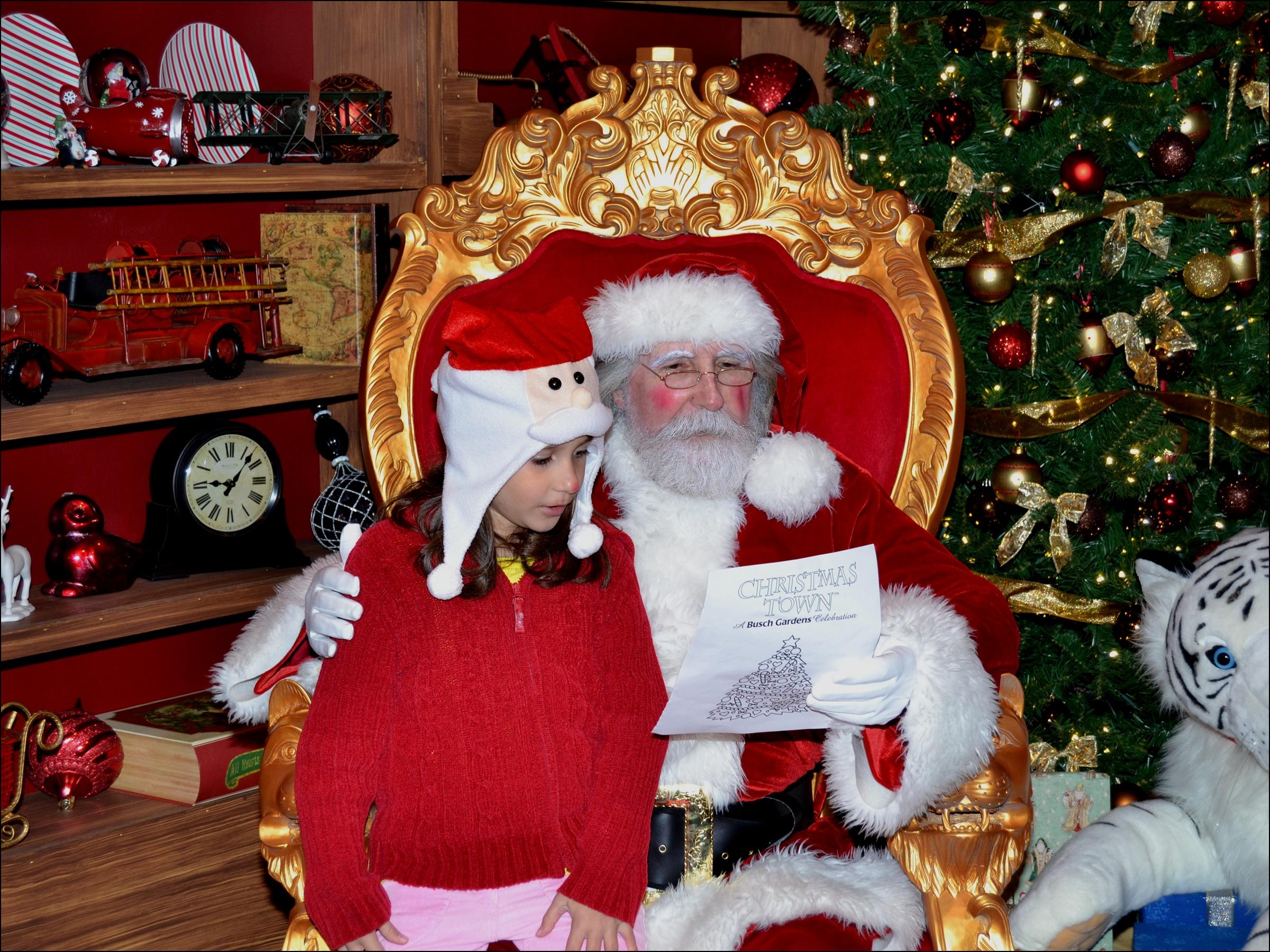 Busch Gardens: Papai Noel lendo a cartinha da Amanda