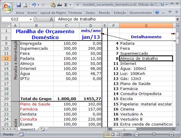 Modelo de planilha para controle de Orçamento Doméstico